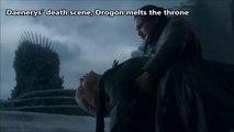 Game of Thrones. Daenerys' death scene, Drogon melts the throne.