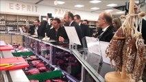 Le Premier ministre Edouard Philippe en dégustation au magasin Esprit paysan