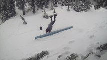 Snowboarder Faceplants Attempting Grind Down Pipe on Mountain