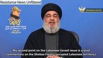 Hassan Nasrallah: Hezbollah will Liberate Shebaa Farms & Remaining Occupied Territories