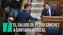 Pedro Sánchez da la mano a Santiago Abascal al entrar en el Congreso