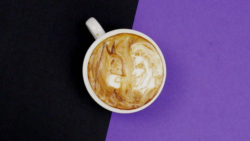 Superheroes vs. Archenemies Drawn in Coffee