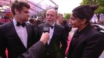 Arthur Dupont et Leïla Bekhti au micro de Laurent Weil - Cannes 2019