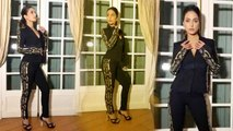 Hina Khan looks glamorous in Black Golden stripes Pantsuit: Check Out Here   Boldsky
