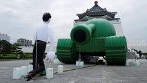Giant inflatable 'Tank Man' in Taiwan recalls 1989 Tiananmen Square crackdown