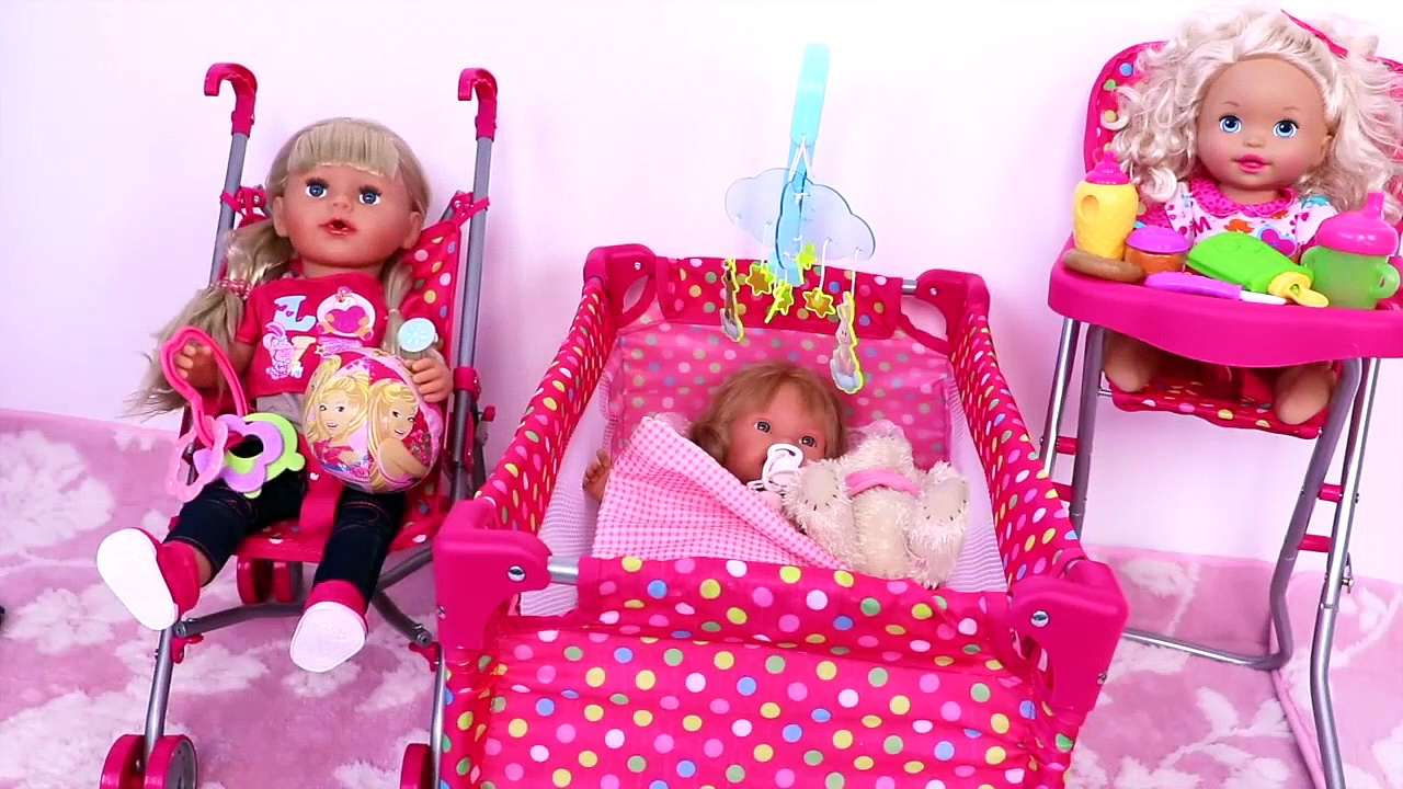 Baby Doll stroller, bed & high chair dollhouse furniture