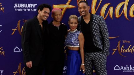 will smith jaden smith jada pinkett smith trey smith aladdin world premiere purple carpet