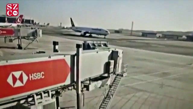 THY uçağı elektrik direğine böyle bindirmiş