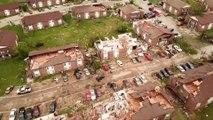 Un drone filme les dégâts des tornades qui se sont abattues sur le Missouri ces derniers jours