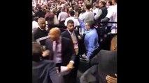 Kawhi Leonard Uncle Dennis hugs Raptors President GM Masai Ujiri after Raptors beat Bucks to make Finals 5-25-19