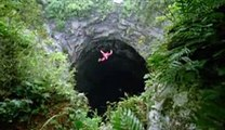 Parachute Jumping In A Cave