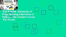 Full E-book  Elements of Programming Interviews in Python: The Insiders' Guide  For Kindle