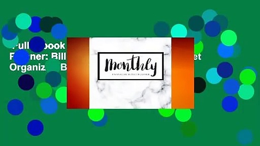Full E-book  Monthly Financial Budget Planner: Bill Organizer Notebook, Budget Organizer, Bill