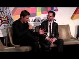 ARIA Winner: Flume talks with Robbie Buck and media backstage.