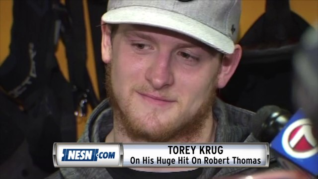 Torey Krug On His Hit On Robert Thomas In Stanley Cup Final Game 1