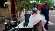 Bride Arrives at Wedding in Motorcycle Sidecar Made From an Old Bathtub