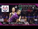 Squash: El Welily v Gilis - Allam British Open 2016 - Women's Rd 1 Highlights
