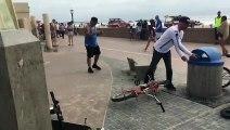 En BMX il détruit un banc en béton en tentant une figure !