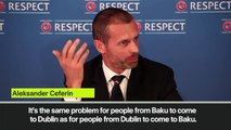 (Subtitled) UEFA president Ceferin not worried about fans travel problems during Euro 2020