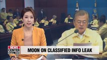 Moon criticizes main opposition party for its stance on leak of phone conversation