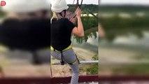 Une fille chute d'une tyrolienne à cause d'un mousqueton qui s'est détaché