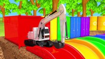 Learn Colors with Construction Vehicle VS Excavator and Magic Water Slide Pretend Play for Kids