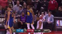 Andre Iguodala dives into Drake on sideline who looks salty and mad about the Adam Silver talk during Game 1 NBA Finals Raptors vs Warriors 5-30-19