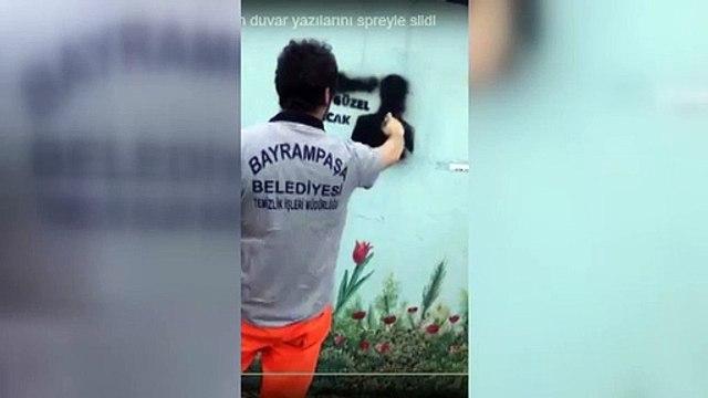 AKP'li Bayrampaşa Belediyesi 'Her Şey Çok Güzel Olacak' duvar yazısını spreyle sildi!