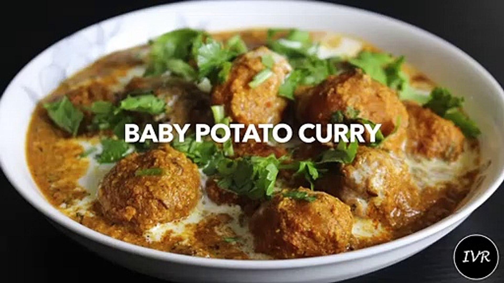 'Dum Aloo Recipe' - Baby Potato Curry Recipe - Shahi Aloo Dum Recipe - Indian Potato Curry