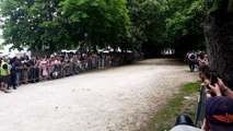 L'arrivée de la course de chevaux de trait de la 381e course de la Bague