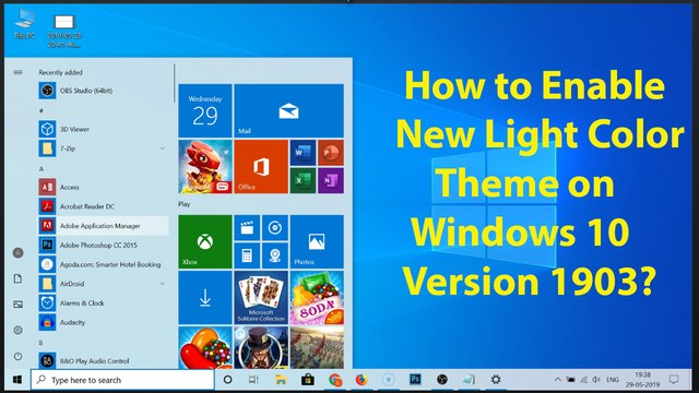 How to Enable New Light Color Theme on Windows 10 Version 1903?