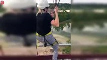 Une fille fait une lourde chute après être tombée d'une tyrolienne !