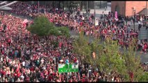Aerial shot of Liverpool fans at trophy parade