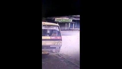 Security cam captures moment rampaging elephant rams tuk-tuk