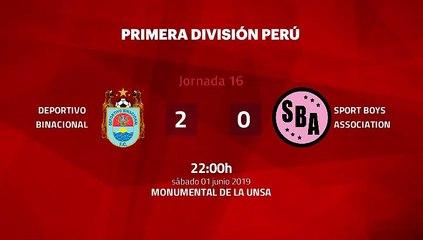 Resumen partido entre Deportivo Binacional y Sport Boys Association Jornada 16 Apertura Perú - Liga