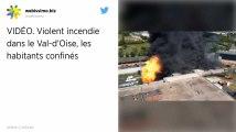 Violent incendie dans une usine de déchets dangereux dans le Val-d'Oise, les habitants toujours confinés.