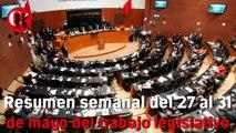 Resumen semanal del 27 al 31 de mayo del trabajo legislativo.