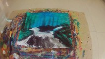 Forest and Waterfalls Art Nature Scenery Painting