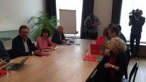 Négiociations entre David Pestieau(PTB), Laurette Onkelinx (PS)et Rudi Vervoort (PS) en vue de la formation du gouvernement régional bruxellois