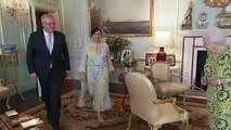 The Queen chats with Australian PM Scott Morrison at Buckingham Palace