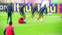 Neymar limps away after tackle from team-mate