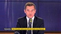 """Retrait de l'offre de fusion de Fiat Chrysler avec Renault : """"Ce qu'on attend de l'État français, c'est de protéger l'emploi industriel en France"""", dit Gérald Darmanin, le ministre de l'Action et des Comptes publics"""