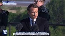 """""""Nous serons toujours ensemble debout."""" En anglais, Emmanuel Macron rend hommage à l'amitié franco-britannique à Ver-sur-Mer"""