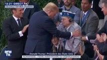 Donald Trump et Emmanuel Macron saluent un vétéran américain présent à Colleville-sur-Mer le jour du débarquement