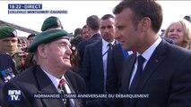 """""""Vous honorez les camarades qui sont tombés (..) vous inspirez tous ces jeunes"""" dit Emmanuel Macron à Léon Gauthier, membre des commandos Kieffer"""