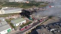 Kocaeli'de 5 işçinin öldüğü fabrika yangını tamamen söndürüldü...Küle dönen fabrika havadan görüntülendi