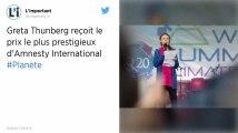La jeune Greta Thunberg reçoit un prix décerné par Amnesty International