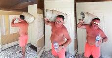 Português (queimado) mostra como se bebe água com gás