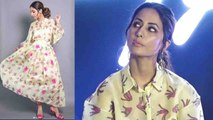 Hina Khan makes grand entry in floral midi dress at event; Watch video | Boldsky