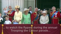 Queen Elizabeth balcony appearance at Trooping the Colour parade